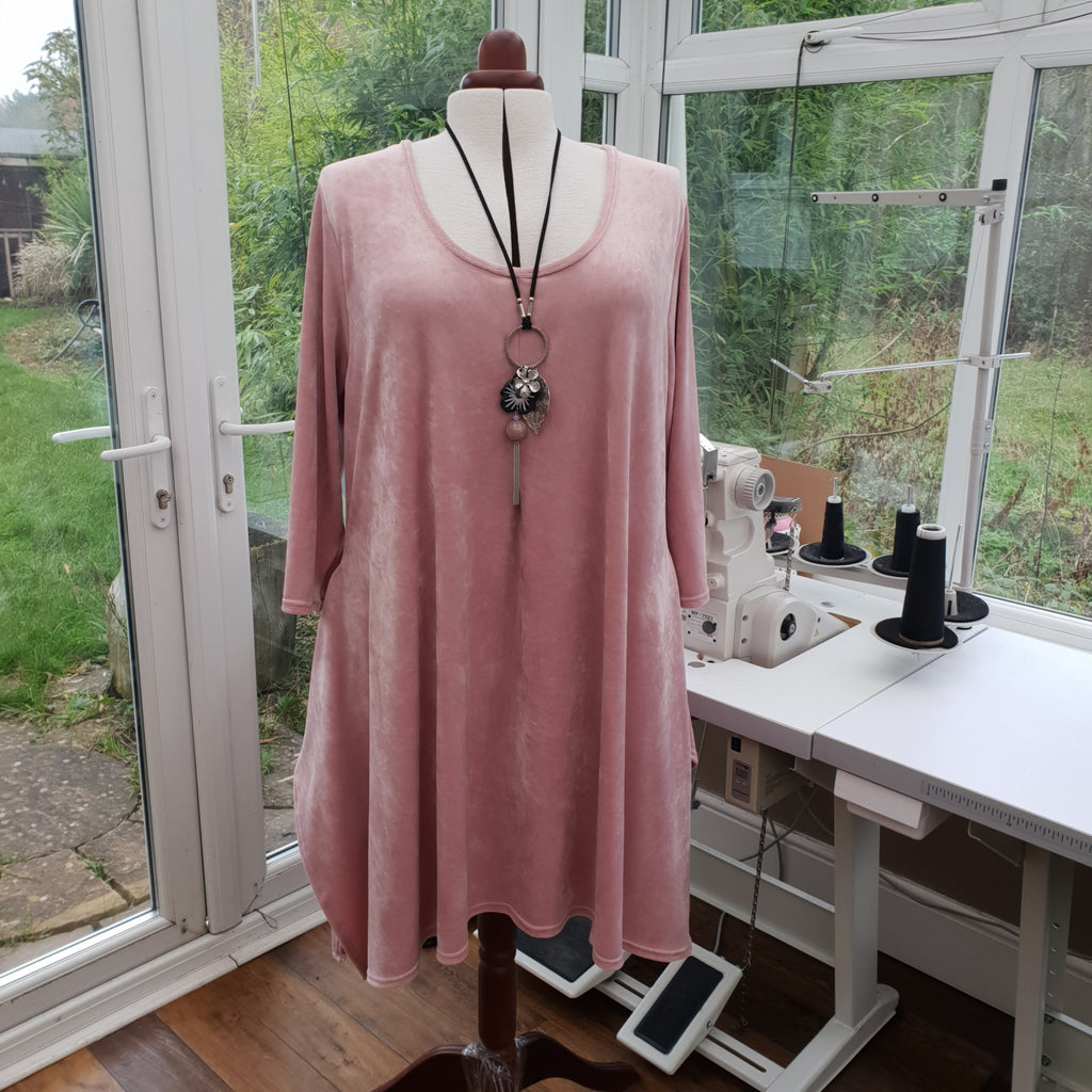 Handkerchief Velour Soft Stretchy Long Top Tunic 3/4 Sleeve [L1216_ROSE]
