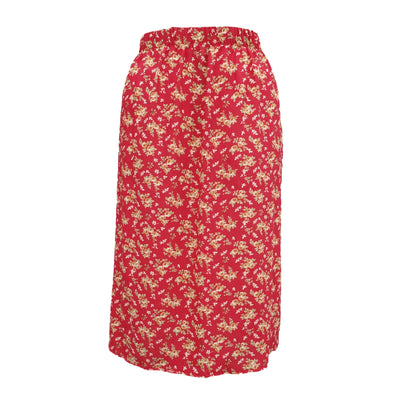 Plus Size Floral CALF LENGTH Skirt With Elasticated Waistband - length 33,5'' (85 cm) [L1135_ROSE]