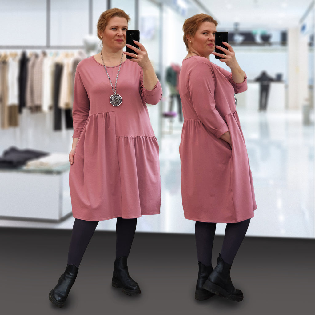 Plus Size Cotton Jersey Longer Tunic Dress Long Sleeve ( or shorter ) [L1238_ROSE]