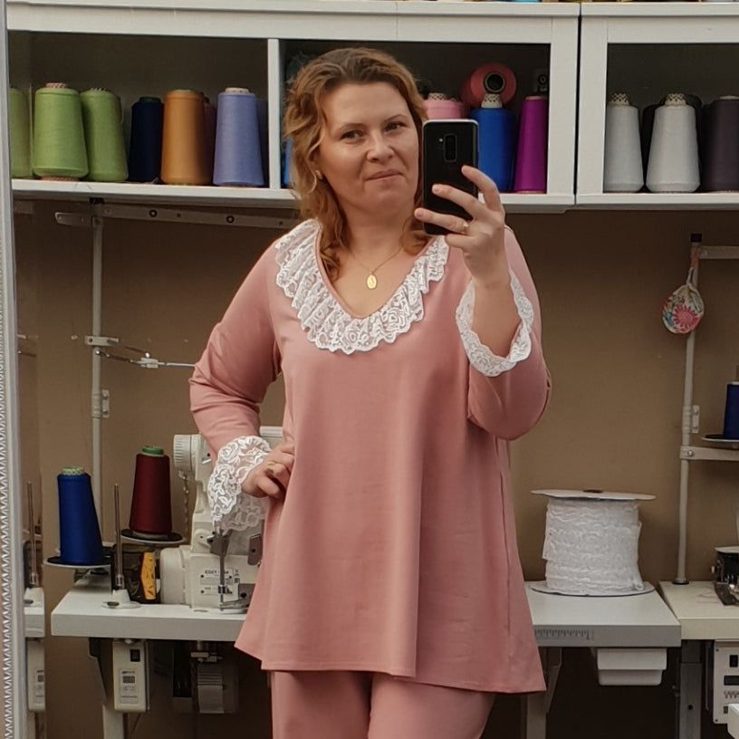 Plus Size Cotton Jersey Pyjama Top V-neck 3/4 sleeve [L1209_ROSE]