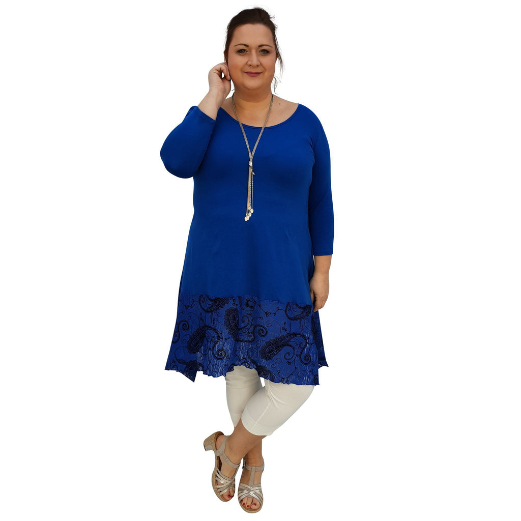 Tunic 3/4 Sleeve Swingy Sidetail Hem Lace Frill Jersey Lagenlook Plus Size [L1020_ROYALBLUE2] - size 16 18 20 22 24 26 28 30 32 34 36 38 40 42 Wolfairy