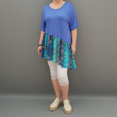 Summer Top with Chiffon Frill Loose Baggy Short Sleeve Beach Holiday Airy Lagenlook Plus Size  [L1074_ROYALBLUE2]