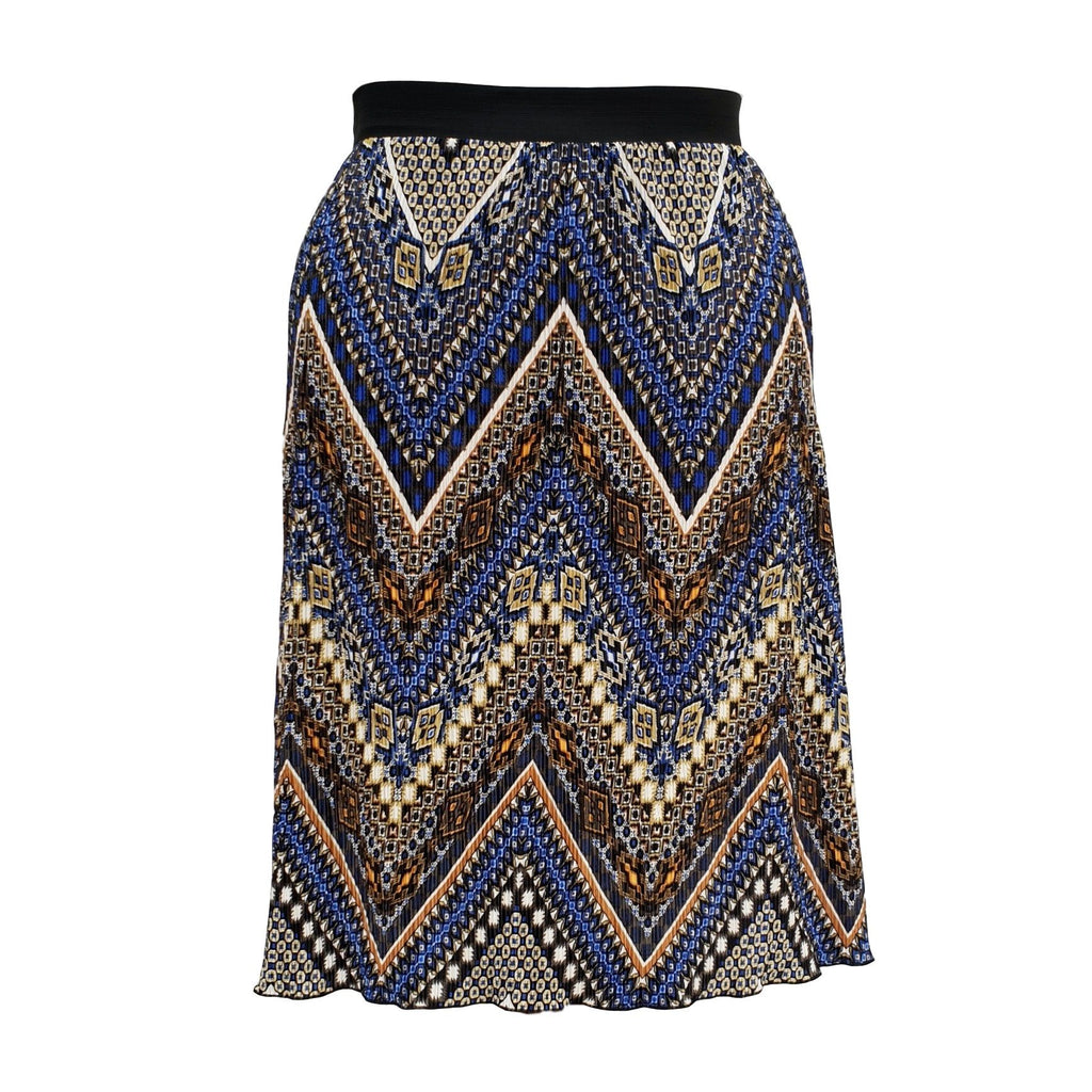 Aztec Tribal Print Pleated Midi Skirt With Elasticated Waistband Plus Size [L1059_ROLAYBLUE2] - size 16 18 20 22 24 26 28 30 32 34 36 38 40 42 Wolfairy