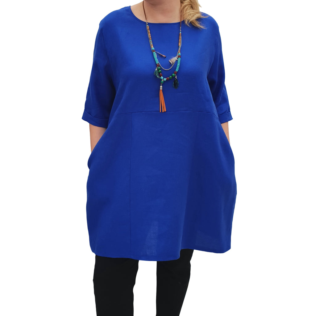 Linen Tunic Summer Top Loose Lagenlook Blouse Short Sleeve Plus Size [L1064_ROYALBLUE] - size 16 18 20 22 24 26 28 30 32 34 36 38 40 42 Wolfairy