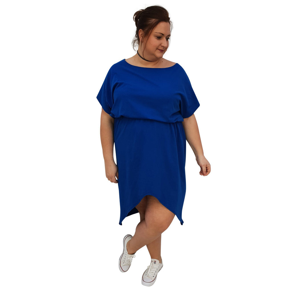 Sport Dress Asymmetric Slit Jersey  Plus Size [L1048_ROYALBLUE] - size 16 18 20 22 24 26 28 30 32 34 36 38 40 42 Wolfairy