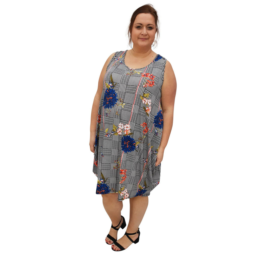 Dress  Beach Holiday Loose Baggy Sleeveless Jersey Lagenlook Plus Size [L1055_ROYALBLUE] - size 16 18 20 22 24 26 28 30 32 34 36 38 40 42 Wolfairy