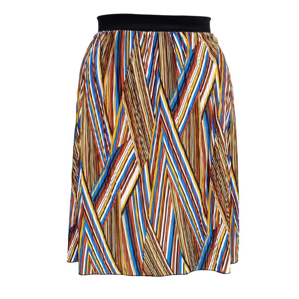 Geometric Print Pleated Midi Skirt With Elasticated Waistband Plus Size [L1059_ROYALBLUE] - size 16 18 20 22 24 26 28 30 32 34 36 38 40 42 Wolfairy