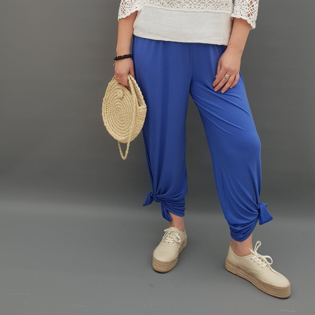 Plus Size Wide Leg Trousers With Slits Loose Pants For Summer  [L1069_ROYALBLUE]