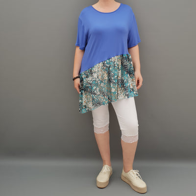 Summer Top with Chiffon Frill Loose Baggy Short Sleeve Beach Holiday Airy Lagenlook Plus Size  [L1074_ROYALBLUE]