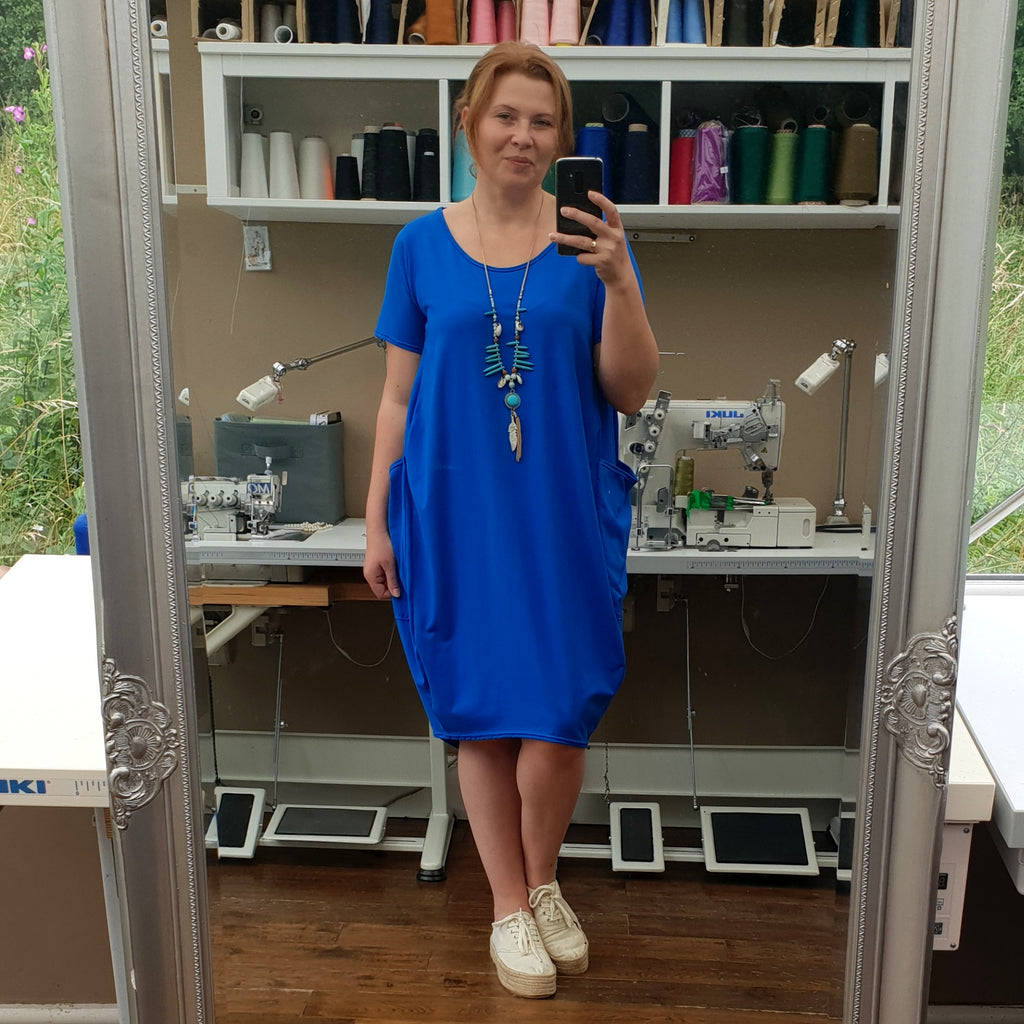 Plus Size Cotton Jersey Dress with Big Pockets [L1165_ROYALBLUE]