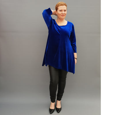 Christmas Handkerchief velvet stretchy long top tunic 3/4 sleeve plain  [L1106_ROYALBLUE] - size 16 18 20 22 24 26 28 30 32 34 36 38 40 42 Wolfairy