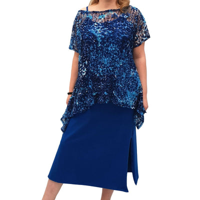Semi-fitted Bodycon Jersey Maxi Dress With Lace Top - 2 Pieces Set Lagenlook Plus Size [L1053_ROYALBLUE] - size 16 18 20 22 24 26 28 30 32 34 36 38 40 42 Wolfairy