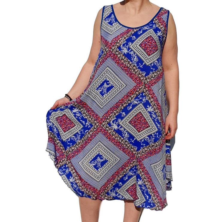 Dress  Sleeveless Boho Beach Holiday Floral Airy Lagenlook Plus Size [L1052_ROYALBLUE] - size 16 18 20 22 24 26 28 30 32 34 36 38 40 42 Wolfairy