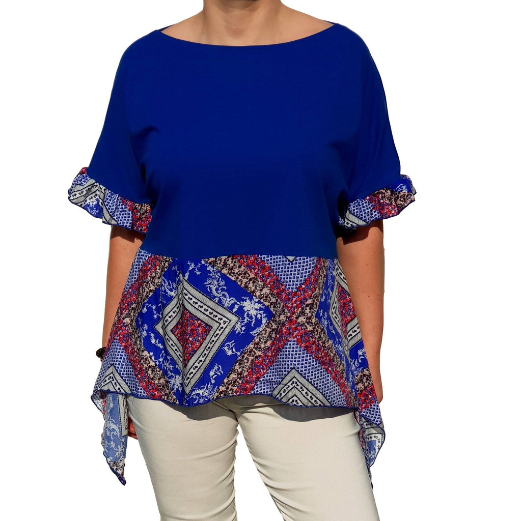 Top  Frill Loose Baggy Short Sleeve Beach Holiday Airy Lagenlook Plus Size [L1057_ROYALBLUE] - size 16 18 20 22 24 26 28 30 32 34 36 38 40 42 Wolfairy