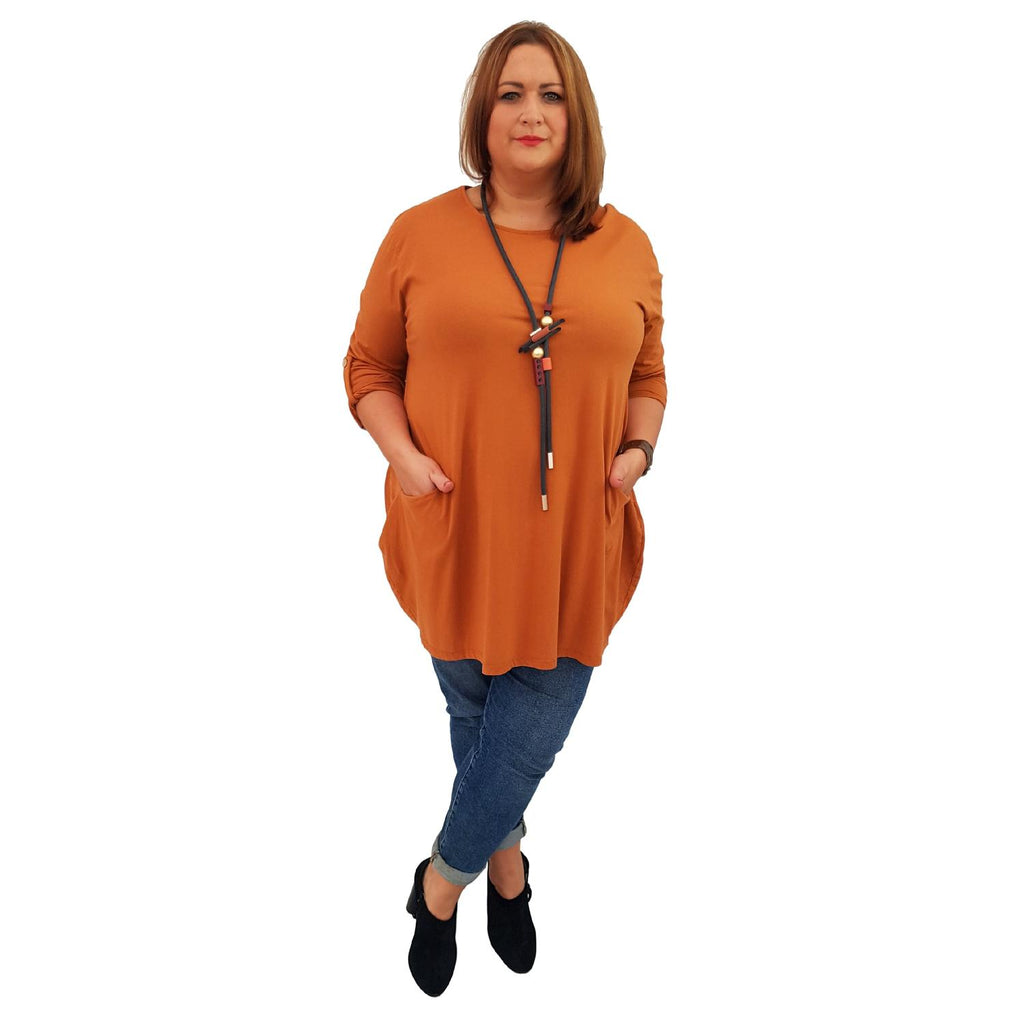 Tunic  Top Baggy   Rust Plus Size [L420_RUST] - size 16 18 20 22 24 26 28 30 32 34 36 38 40 42 Wolfairy