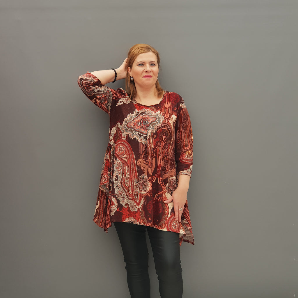 Handkerchief Long Top Tunic 3/4 sleeve [L1114_RUST] - size 16 18 20 22 24 26 28 30 32 34 36 38 40 42 Wolfairy