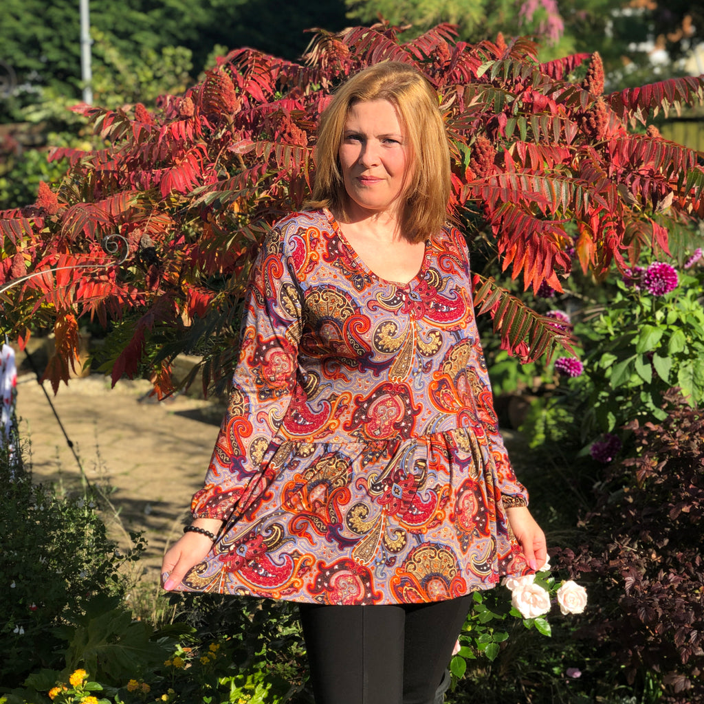 Plus size drop waist ruffle hem paisley top v-neck long sleeve [L1092_RUST] - size 16 18 20 22 24 26 28 30 32 34 36 38 40 42 Wolfairy