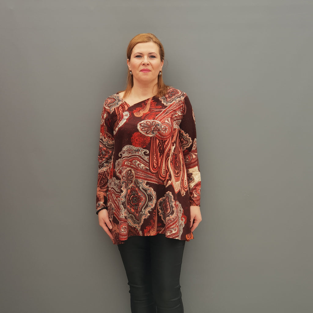 Plus Size Asymmetric Neckline Swing Top Blouse Long Sleeve [L1110_RUST] - size 16 18 20 22 24 26 28 30 32 34 36 38 40 42 Wolfairy