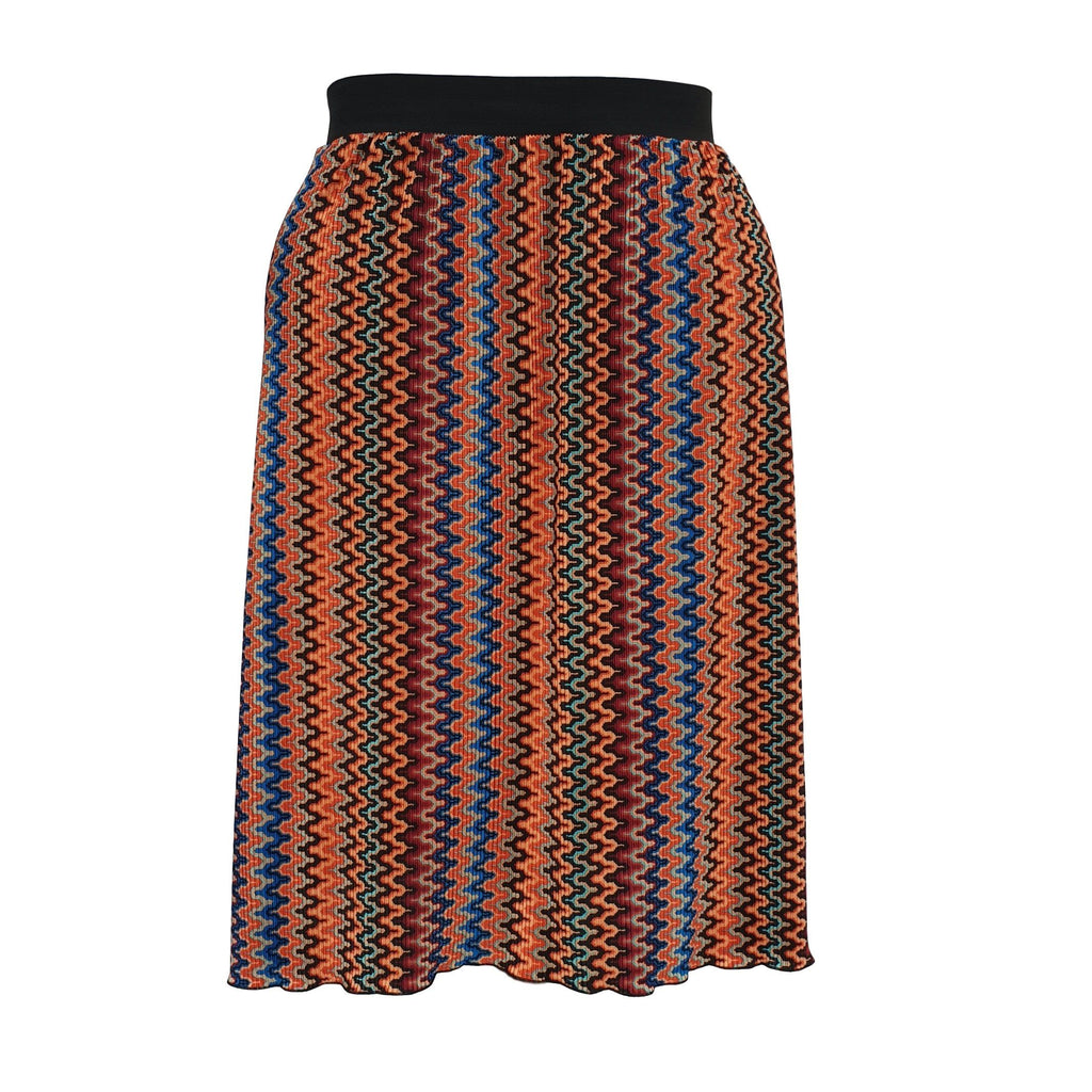 Geometric Print Pleated Midi Skirt With Elasticated Waistband Plus Size [L1059_RUST] - size 16 18 20 22 24 26 28 30 32 34 36 38 40 42 Wolfairy