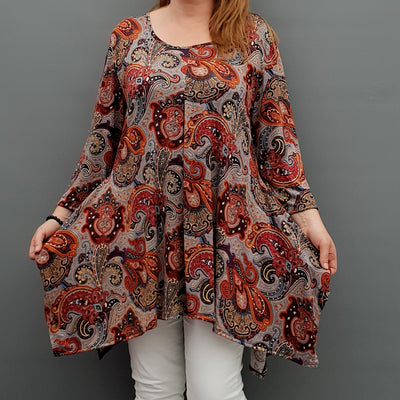 Handkerchief Paisley Stretchy Long Top Tunic 3/4 Sleeve [L1078_RUST] - size 16 18 20 22 24 26 28 30 32 34 36 38 40 42 Wolfairy