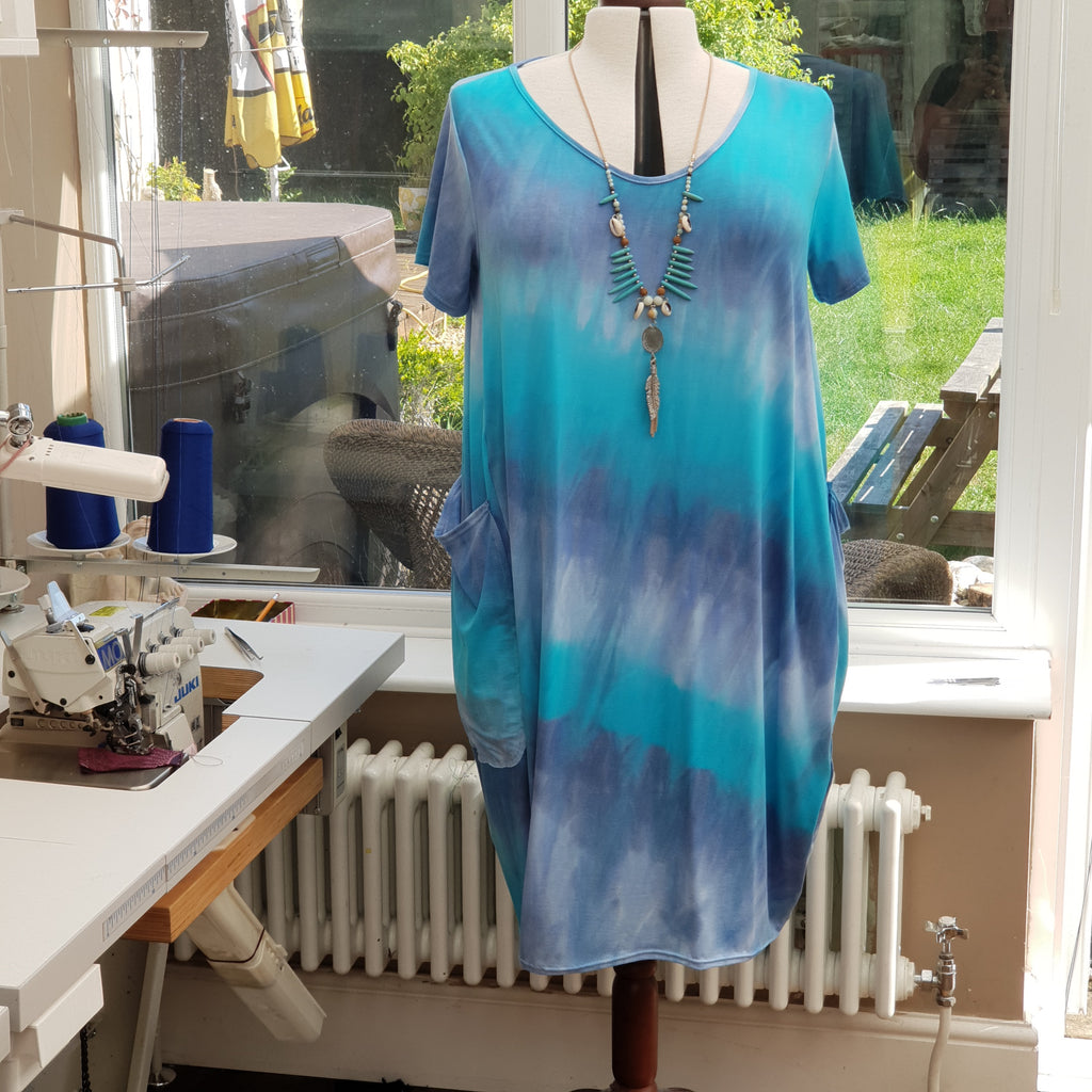 Cotton Jersey Baggy Summer Dress Tunic Short Sleeve Plus Size [L1157_SEABLUE]