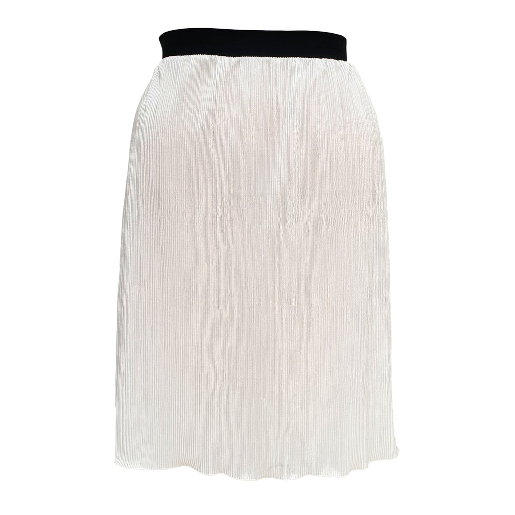 Silver Pleated Midi Skirt With Elasticated Waistband Plus Size [L1059_SILVER] - size 16 18 20 22 24 26 28 30 32 34 36 38 40 42 Wolfairy