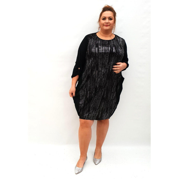 Dress Loose Long Sleeve Shiny Glitter Lagenlook Plus Size [L1034_SILVER] - size 16 18 20 22 24 26 28 30 32 34 36 38 40 42 Wolfairy