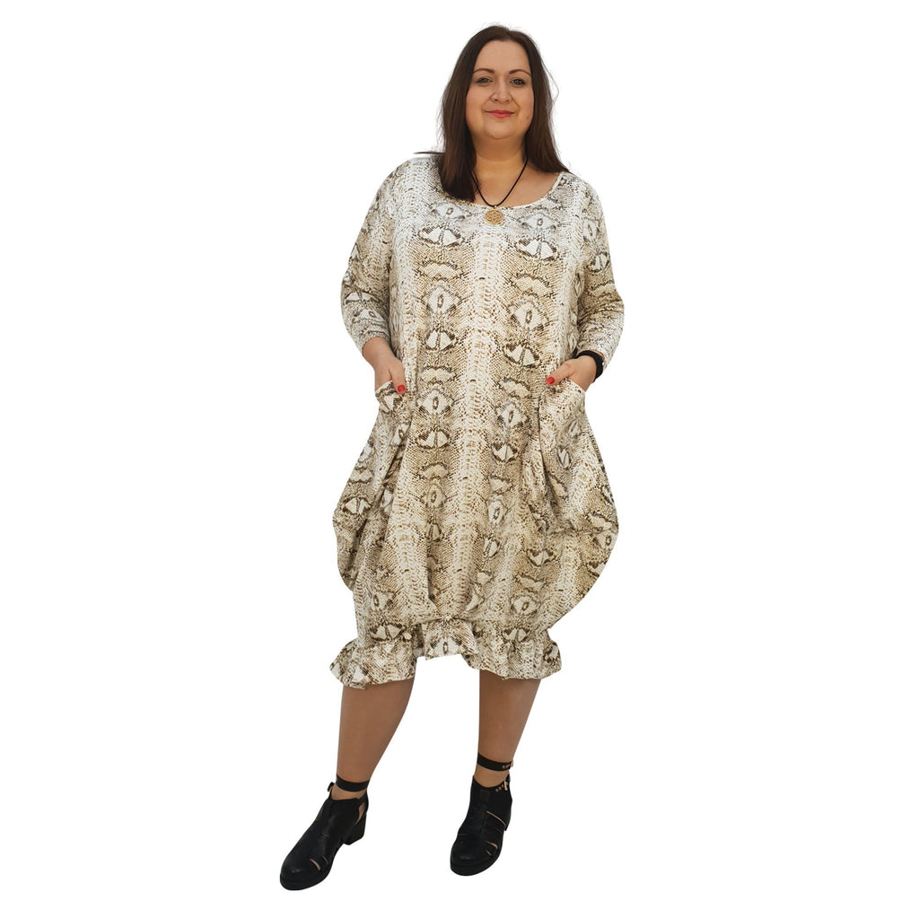 Dress Loose Pockets And Frill Long Sleeve Snake Animal Print Lagenlook Plus Size [L1045_SNAKEBEIGE] - size 16 18 20 22 24 26 28 30 32 34 36 38 40 42 Wolfairy