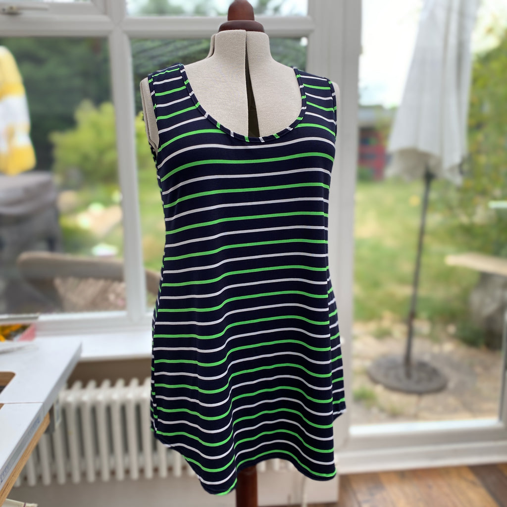 Summer A-Line Camisole Top ( you can choose an option with elbow sleeve too ) [L1143_STRIPEDGREEN]