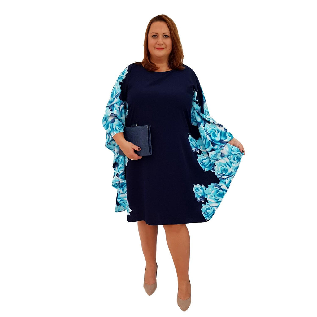Airy Dress Loose Batwing Sleeve Lagenlook Plus Size [L466_TURQUOISE] - size 16 18 20 22 24 26 28 30 32 34 36 38 40 42 Wolfairy