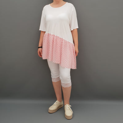 Summer Top with Chiffon Frill Loose Baggy Short Sleeve Beach Holiday Airy Lagenlook Plus Size  [L1074_WHITE2]