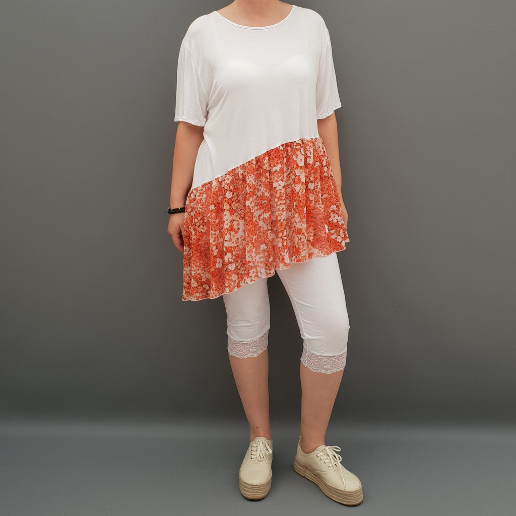 Summer Top with Chiffon Frill Loose Baggy Short Sleeve Beach Holiday Airy Lagenlook Plus Size  [L1074_WHITE3] - size 16 18 20 22 24 26 28 30 32 34 36 38 40 42 Wolfairy