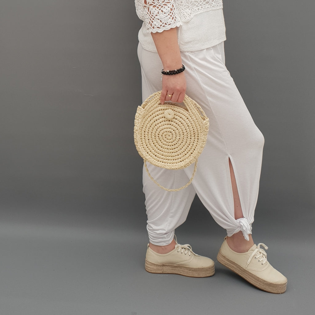 Plus Size Wide Leg Trousers With Slits Loose Pants For Summer  [L1069_WHITE]