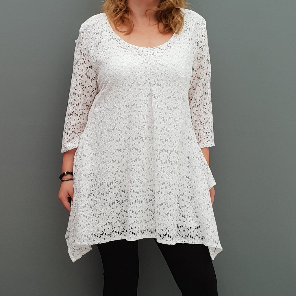 Plus size handkerchief crochet lace top blouse with lining [L1088_WHITE] - size 16 18 20 22 24 26 28 30 32 34 36 38 40 42 Wolfairy