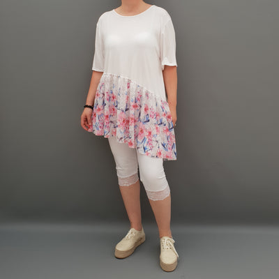 Summer Top with Chiffon Frill Loose Baggy Short Sleeve Beach Holiday Airy Lagenlook Plus Size  [L1074_WHITE]