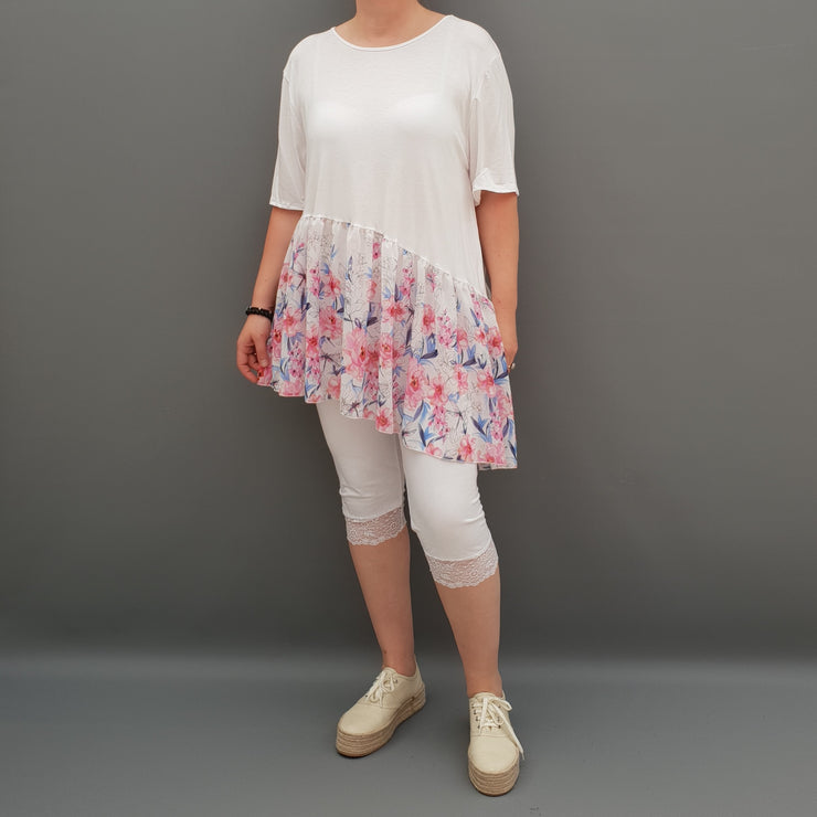 Summer Top with Chiffon Frill Loose Baggy Short Sleeve Beach Holiday Airy Lagenlook Plus Size  [L1074_WHITE] - size 16 18 20 22 24 26 28 30 32 34 36 38 40 42 Wolfairy