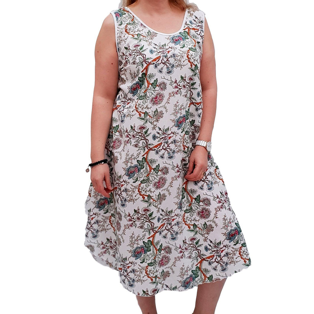 Sleeveless Boho Beach Holiday Floral Airy Dress  Plus Size [L1052_WHITE] - size 16 18 20 22 24 26 28 30 32 34 36 38 40 42 Wolfairy