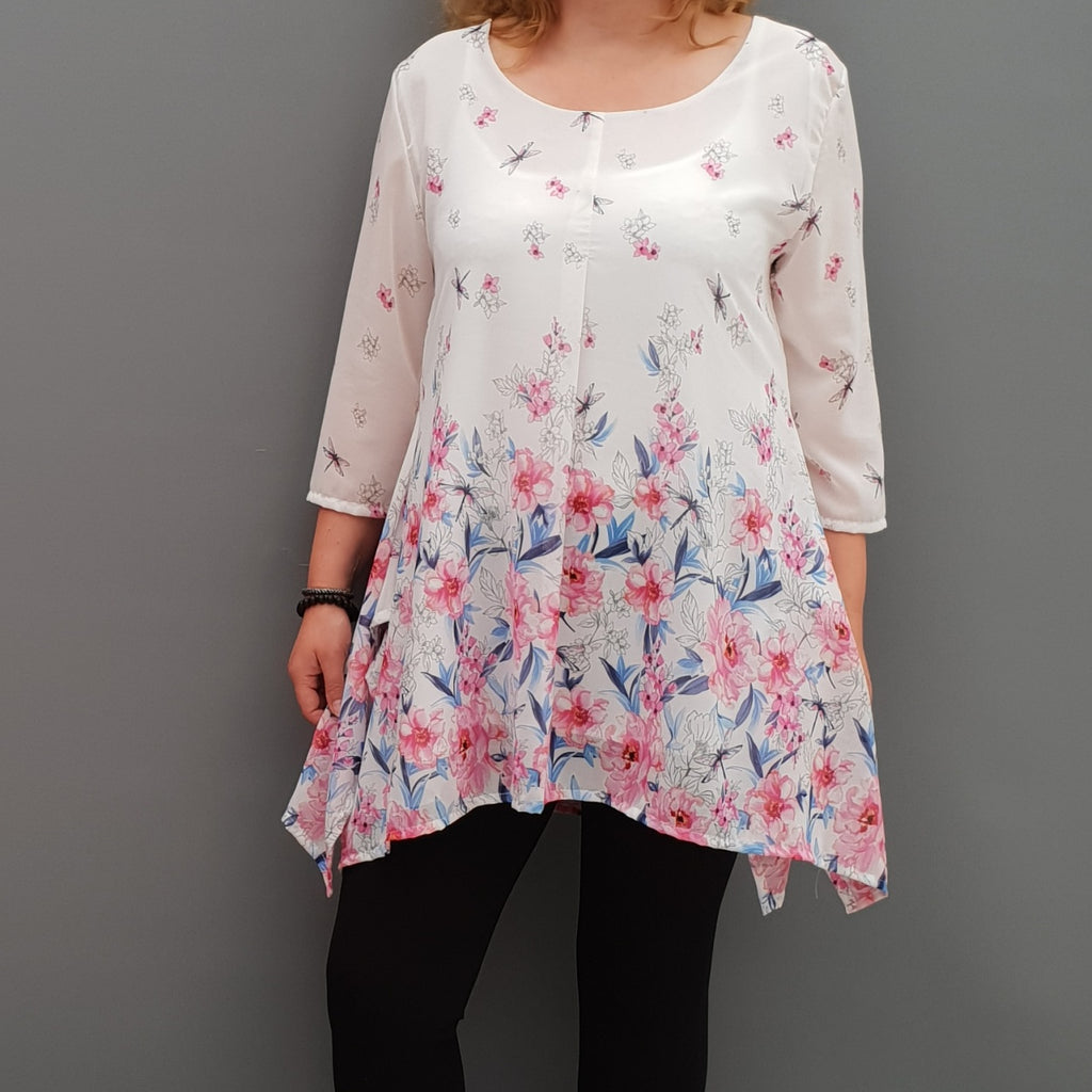 Plus size handkerchief chiffon floral top tunic with lining [L1091_WHITE] - size 16 18 20 22 24 26 28 30 32 34 36 38 40 42 Wolfairy