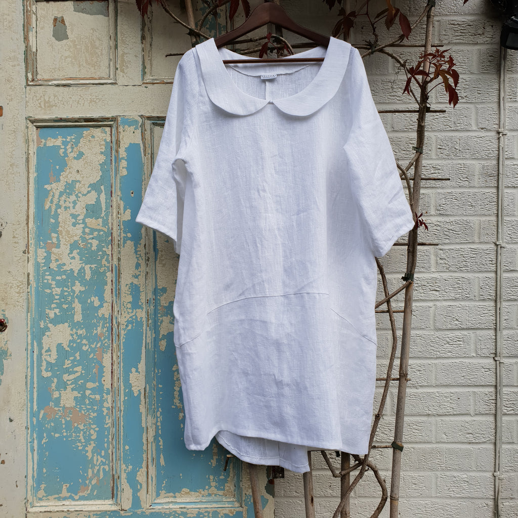 Plus Size Summer Heavy Linen Longer Top Dress 3/4 sleeve [L1162_WHITE]