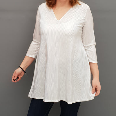 Wolfairy Plus Size V-neck Swing Pleated Stretchy Top Tunic  [L1126_WHITESILVER]