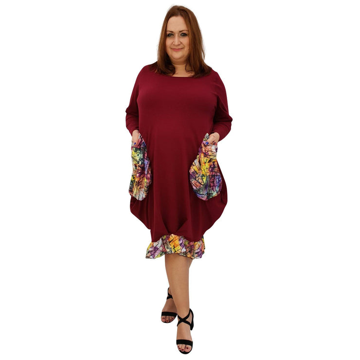 Asymmetric Dress Loose Chiffon Pockets And Frill Long Sleeve Lagenlook Plus Size [L1045_WINE] - size 16 18 20 22 24 26 28 30 32 34 36 38 40 42 Wolfairy