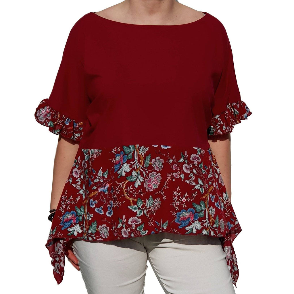 Top  Frill Loose Baggy Short Sleeve Beach Holiday Airy Lagenlook Plus Size [L1057_WINE2] - size 16 18 20 22 24 26 28 30 32 34 36 38 40 42 Wolfairy