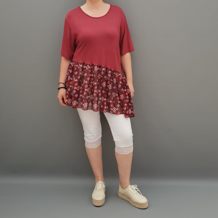 Summer Top with Chiffon Frill Loose Baggy Short Sleeve Beach Holiday Airy Lagenlook Plus Size  [L1074_WINE2] - size 16 18 20 22 24 26 28 30 32 34 36 38 40 42 Wolfairy