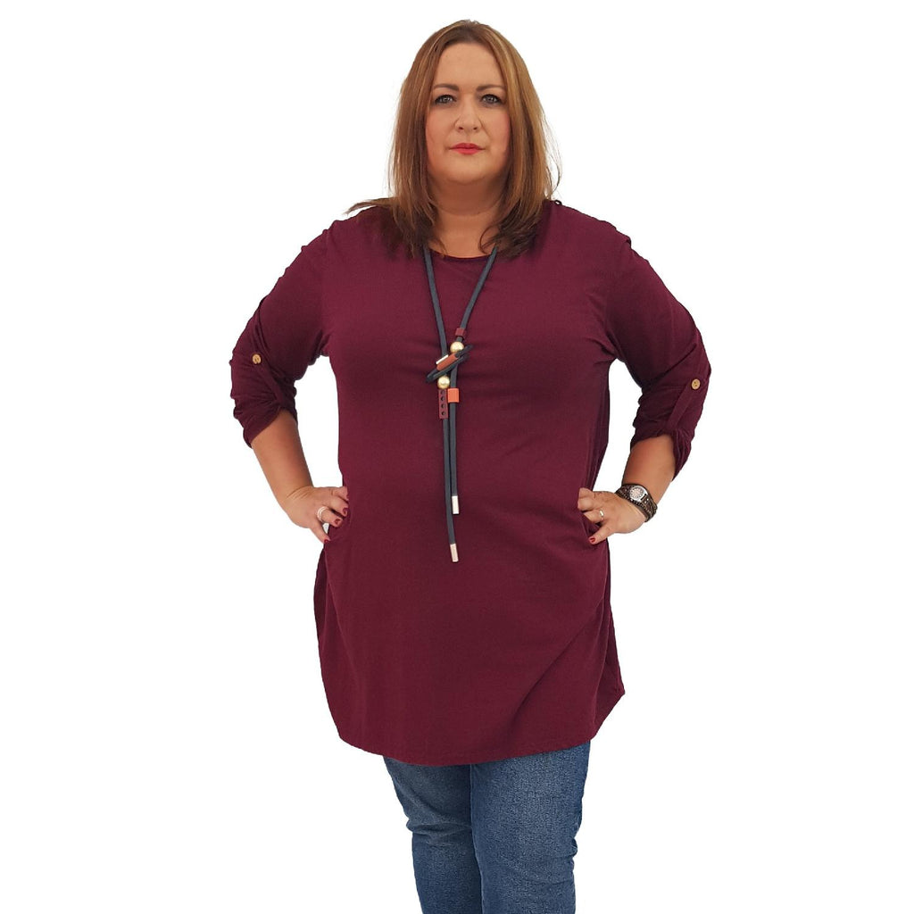 Tunic  Top Baggy   Wine Plus Size [L420_WINE] - size 16 18 20 22 24 26 28 30 32 34 36 38 40 42 Wolfairy