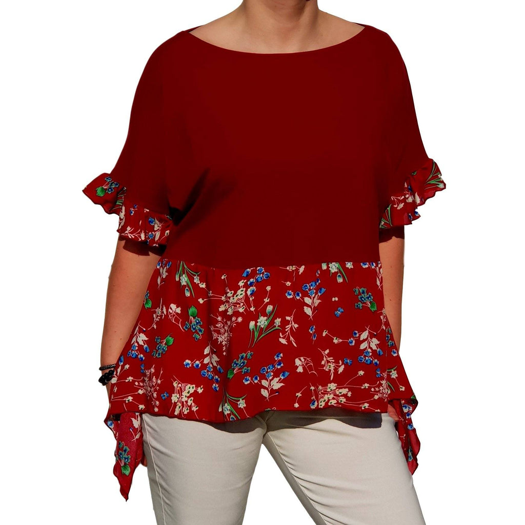 Top  Frill Loose Baggy Short Sleeve Beach Holiday Airy Lagenlook Plus Size [L1057_WINE] - size 16 18 20 22 24 26 28 30 32 34 36 38 40 42 Wolfairy
