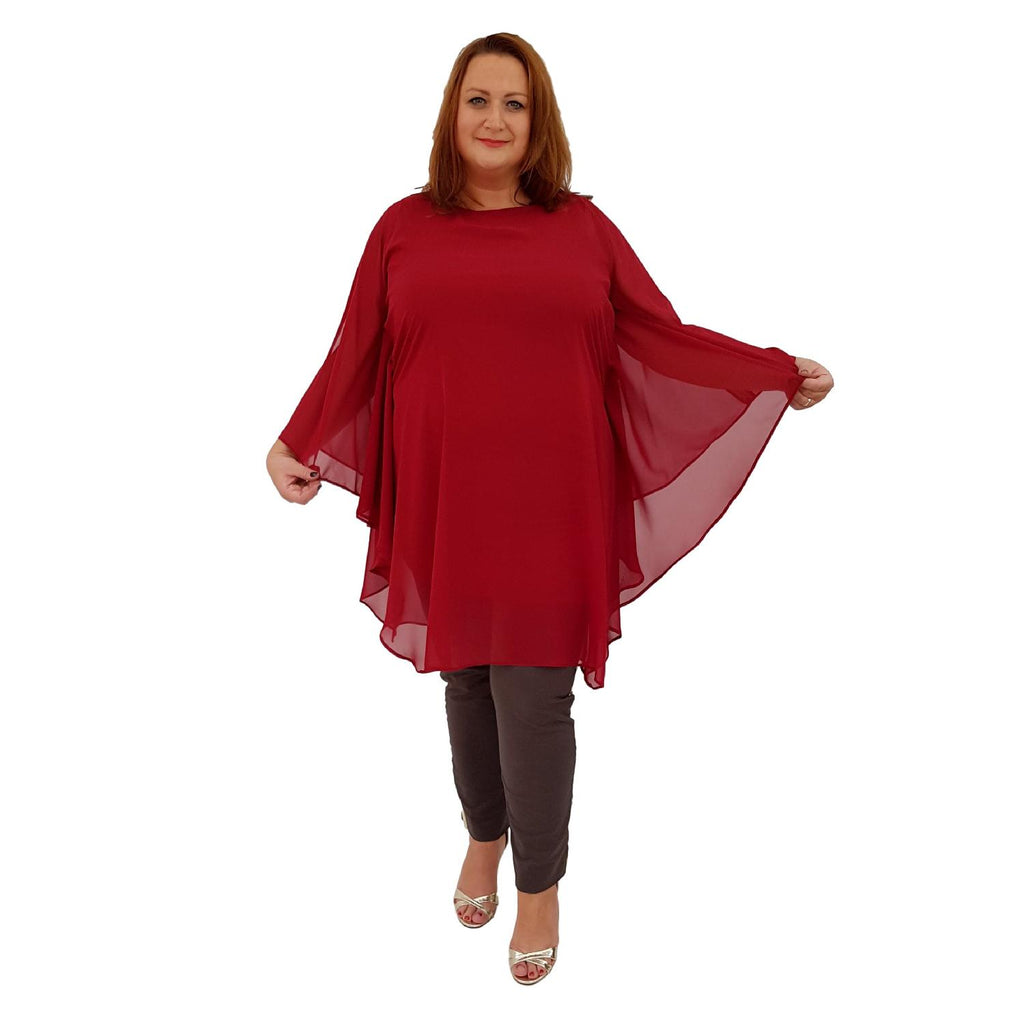 Airy Dress Loose Batwing Sleeve Lagenlook Plus Size [L468_WINE] - size 16 18 20 22 24 26 28 30 32 34 36 38 40 42 Wolfairy