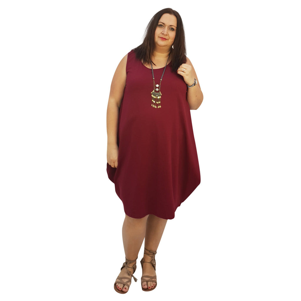 Midi Dress For Beach  Holiday Frill Floral Aztec Tribal  Plus Size [L1047_WINE] - size 16 18 20 22 24 26 28 30 32 34 36 38 40 42 Wolfairy