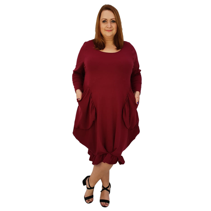Asymmetric Dress Frill Loose Pockets Plain Long Sleeve Lagenlook Plus Size [L1044_WINE] dress Wolfairy