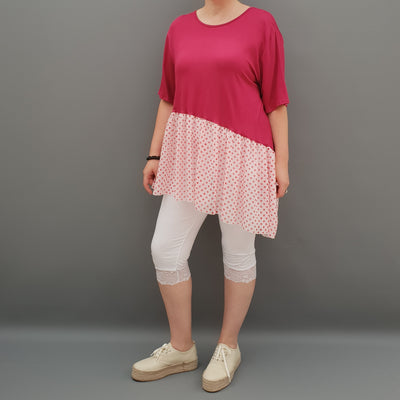 Summer Top with Chiffon Frill Loose Baggy Short Sleeve Beach Holiday Airy Lagenlook Plus Size  [L1074_WINE]
