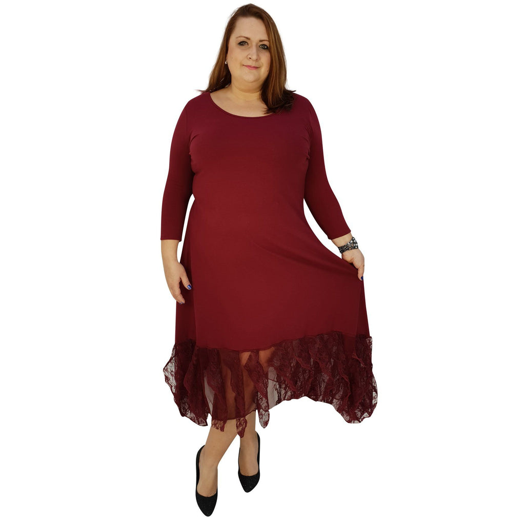 Maxi Dress Floral Layered Lace Frill 3/4 Sleeve Lagenlook Plus Size [L1041_WINE] - size 16 18 20 22 24 26 28 30 32 34 36 38 40 42 Wolfairy